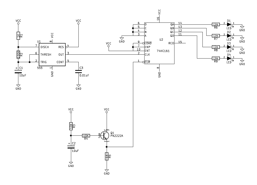 4-bit Counter 74HC161 Circuit | Sully Station Technologies on counter schematic 74190 pin, digital electronics, counter circuit design, counter with sensor circuit, wiring diagram, one-line diagram, pulse counter schematic, counter coil schematic, counter schematic 3 stage, circuit design, 2-digit counter schematic, down counter schematic, counter circuit breadboard, function block diagram, decade counter schematic, digital counter schematic, counter circuit layout, counter chip schematic, integrated circuit layout, network analysis, block diagram, freq counter schematic,
